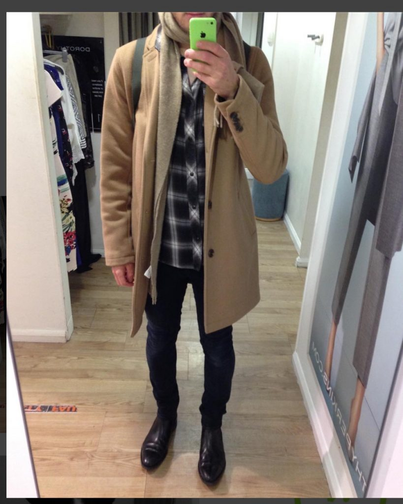 Overcoat with flannel shirt, scarf, jeans and boots