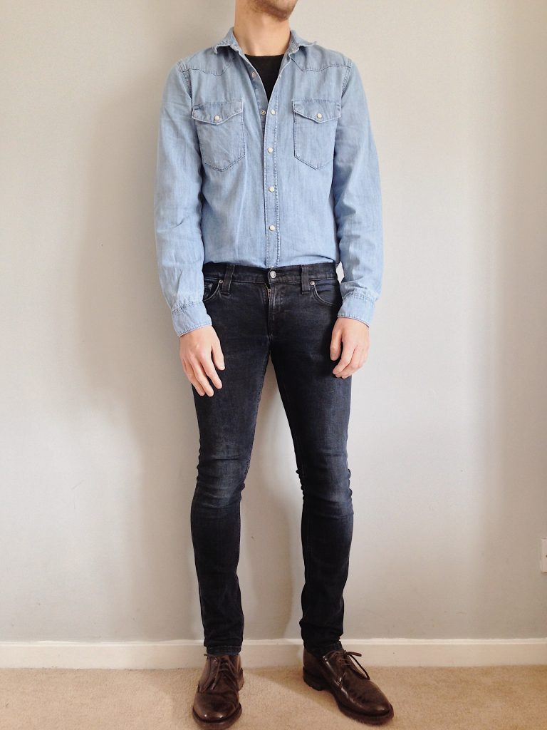Western denim shirt with derbies and black jeans
