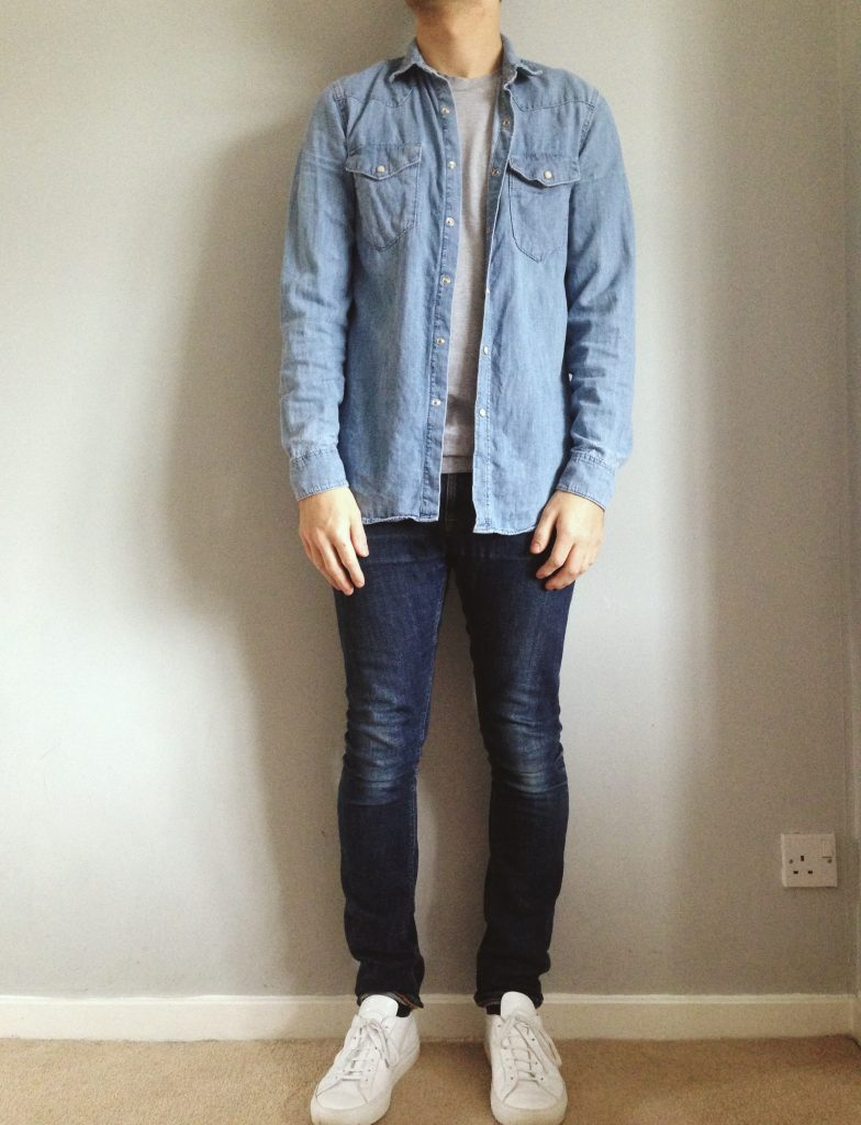 denim shirt with indigo jeans and common projects